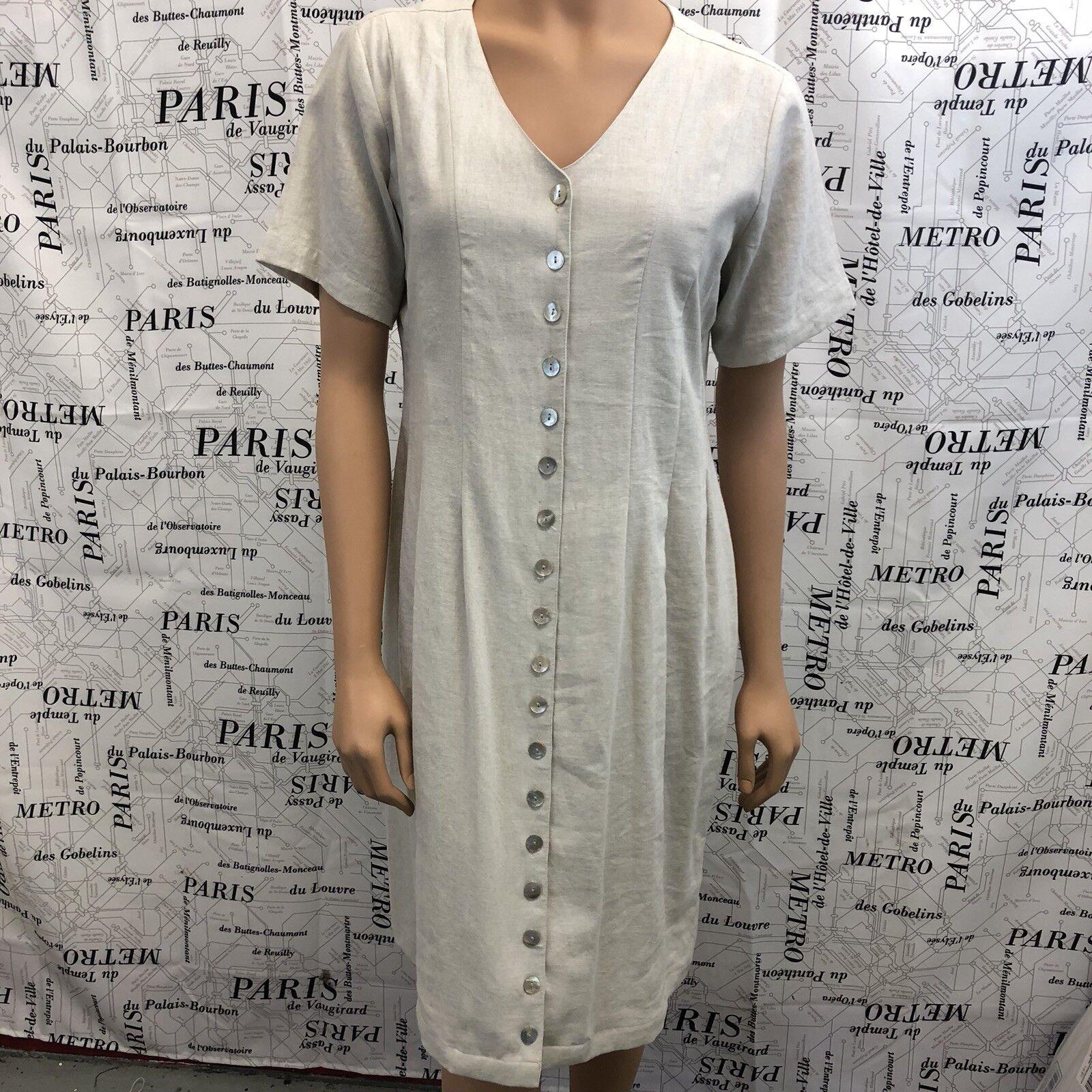 Orvis Womens 10 Petite Cream Linen Blend Dress Button Front Short Sleeve