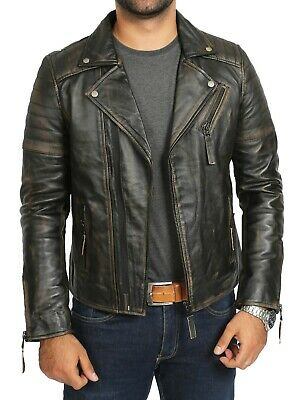 Biker Style Real Leather Jacket Mens Vintage Washed Rub Off Effect Lambskin Coat