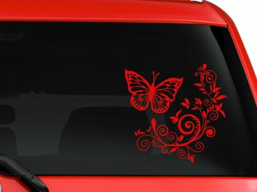 "Butterfly and Flower nice design car truck SUV window laptop 6/"" RED"