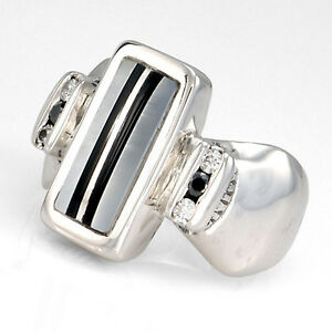 Handcrafted-Sterling-Silver-Mother-of-Pearl-Black-Onyx-Inlay-Diamond-Ring-Size-7
