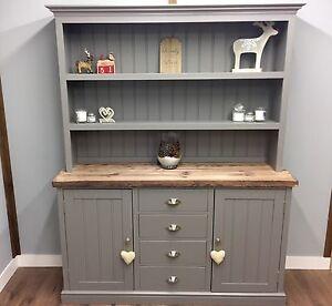 Excellent Details About Welsh Dresser Farmhouse Kitchen Unit Shabby Chic Oak Pine Farrow And Ball Grey Download Free Architecture Designs Salvmadebymaigaardcom