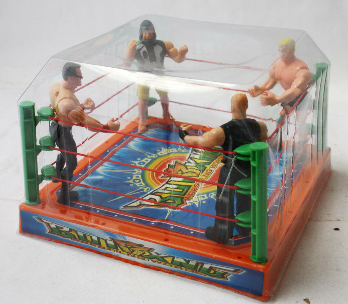 VERY RARE VINTAGE 90'S WRESTING RING + 4 FIGURE WWF KO NEW NOS