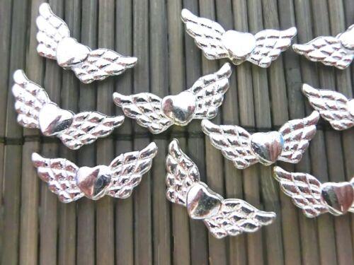 10 ange ailes Spacer Métal Perles Ange Gardien Ange cœur couleur argent #s054