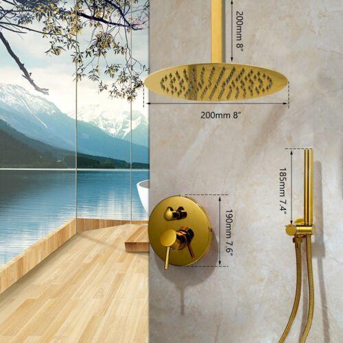 Bathroom Gold Cell Mount Shower faucet Set Round Shower Head Handheld Mixer Tap