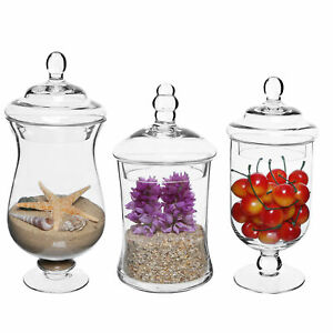 Set-of-3-Glass-Storage-amp-Display-Canisters-Wedding-Buffet-amp-Apothecary-Jars