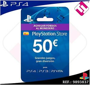 TARJETA 50€ PREPAGO PLAYSTATION NETWORK PSN PS3 PS4 PS VITA CODIGO ENVIADO EBAY