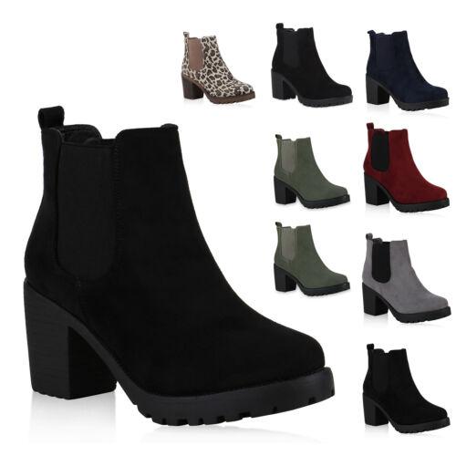Chelsea Boots Damen Block Absatz Profil Sohle Stiefeletten 814004 New Look