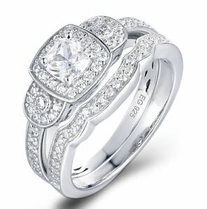 Image Is Loading 925 Sterling Silver Cz Wedding Band Engagement Rings