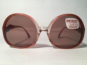 Vintage-Metzler-2110-288-52-16-Braun-Transparent-Round-Sunglasses-NOS