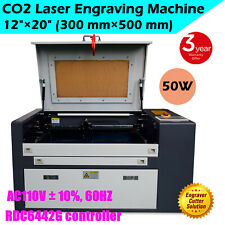 50w 12 X 20 Co2 Laser Engraving Cutting Machine With Y Axis Rotary Roller Usb