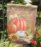 Give Thanks Medley Autumn 2 Sided Custom Decor Thanksgiving Small Garden Flag