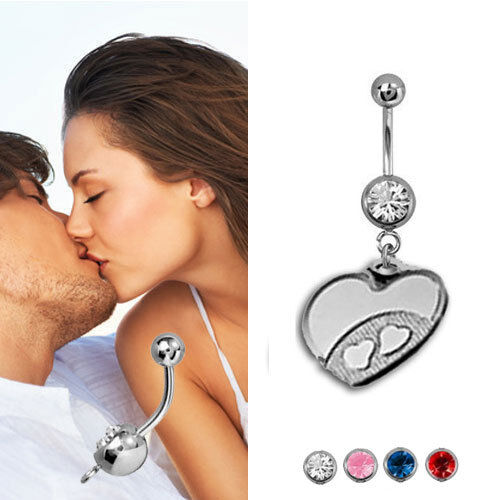 GRAVUR Bauchnabelpiercing Herz mit Herzen,Chirurgenstahl /& 925er Silber neu