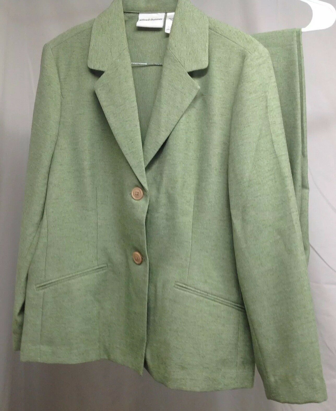 Alfred Dunner Women Green Polyester Long Sleeve 2 Piece Pant Suit 8  B6-13