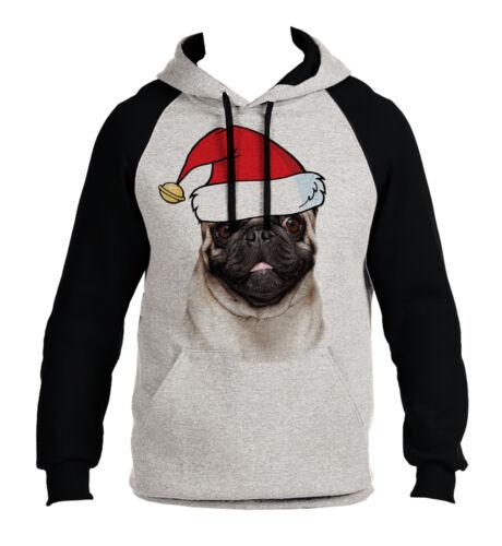 Men/'s Christmas Pug Gray Raglan Hoodie Holiday Xmas Santa Claus Dog Puppy B1467