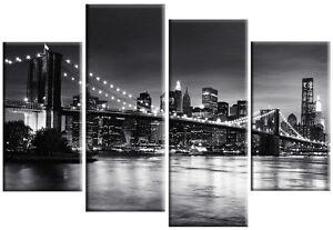 LARGE MULTI PANEL PURPLE NEW YORK SPLIT CANVAS ART PICTURE BROOKLYN BRIDGE 100cm