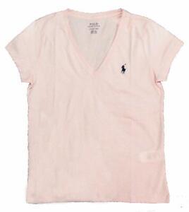 Polo-Ralph-Lauren-Women-039-s-Lightweight-V-neck-Cotton-tee-Pink-XS-S-M-L