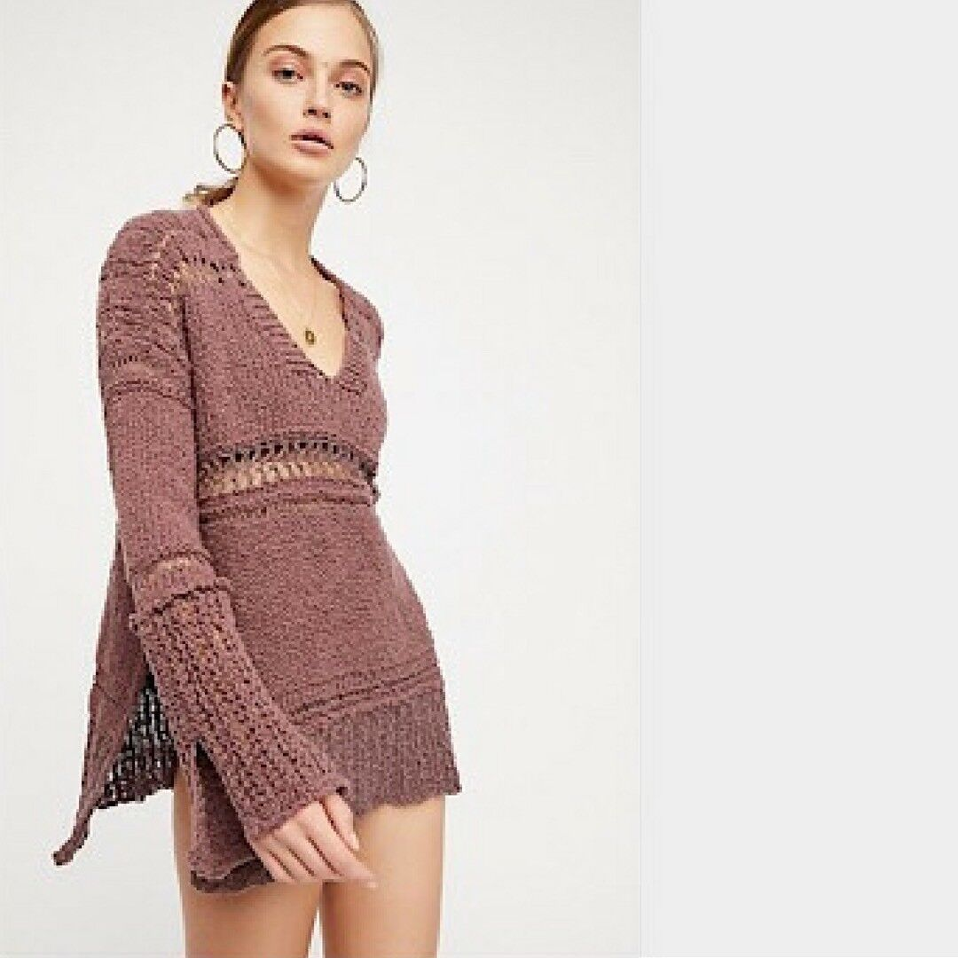 NWT FREE PEOPLE Belong To You Sweater Purple Top Large L Retail  New