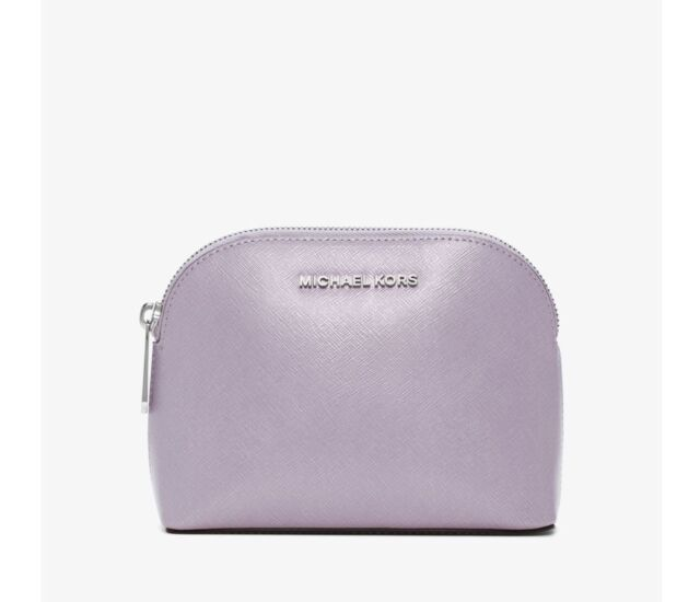 f77ad507b846 NWT Michael Kors Cindy Patent Saffiano Leather Travel Pouch Cosmetic Case  Lilac