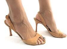Women's Manolo Blahnik Beige Suede Open Toe Sling back Pump Shoes SZ 38.5 $650