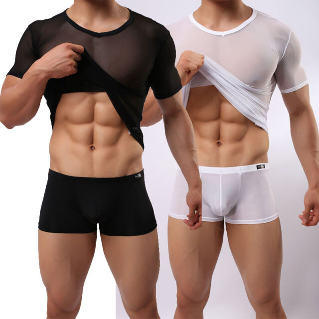 Men's Slim Fit Top Sexy Mesh Sheer Short Sleeve Gym Tops Casual Stylish T-Shirt