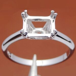 Details About Emerald 8x6mm Solitaire Sterling Silver Semi Mount Engagement Wedding Ring