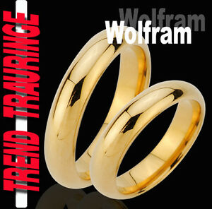 2-Partner-Ringe-Tungsten-GOLD-Plattiert-Trauringe-Gravur-Gratis-Wolfram-TW29