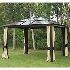 12x10 Gazebo Canopy Net Hardtop Roof Aluminum Outdoor Patio Tent W Mesh