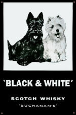 Black & White Scotch Whisky Galvanized Steel and Enamel Painted Display Sign