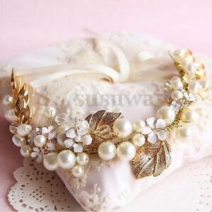 Vintage-Floral-Gold-Leaves-Pearl-Wedding-Hair-Tiara-Bridal-Headpiece-Headband