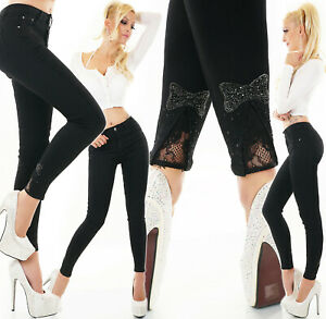 Jeans Ladies Skinny High Waist Trousers With Bow And Glittering Stones