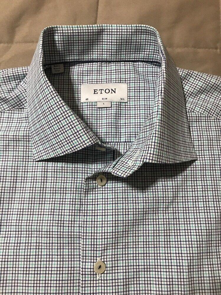 NEW Eton Of Sweden York Slim Fit Check Dress Shirt - Blau - Größe 42   16 1 2