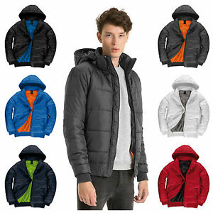 83799c92f Mens Down Bomber Puffer Quilted Padded Coat Jacket Winter Hooded S ...