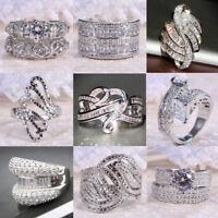 Women Men White Topaz 925 Silver Jewelry Wedding Engagement Ring Size 6-10