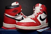 NIKE AIR JORDAN HI I 1 WHITE RED BLACK ORIGINAL OG 1985 CHICAGO BULLS BRED HIGH