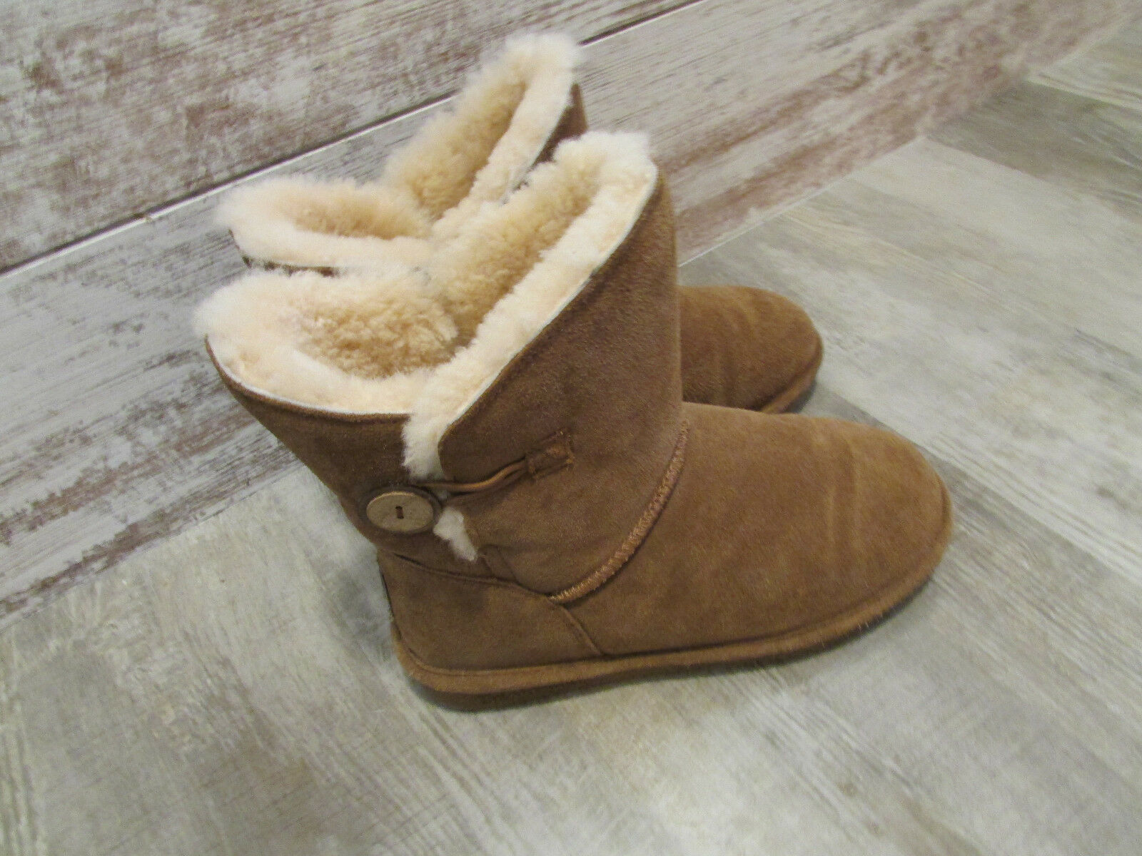 BEARPAW SHERPA LINED SUEDE LEATHER BOOTS WOMENS 7 COGNAC TAN