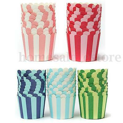 50x Christmas Xmas Cupcake Baking Paper Cup Muffin Cases Stripe Liners Party