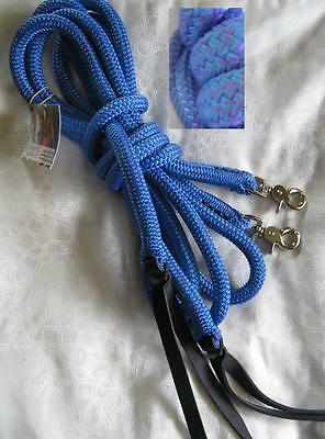 Sporting Purple 7ft Rope Split Reins with Loop Campdrafting Western Riding