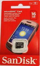ORIGINALE SANDISK 16GB Micro SD HC Memory Card per tutti tipo mob.phone TELECAMERE