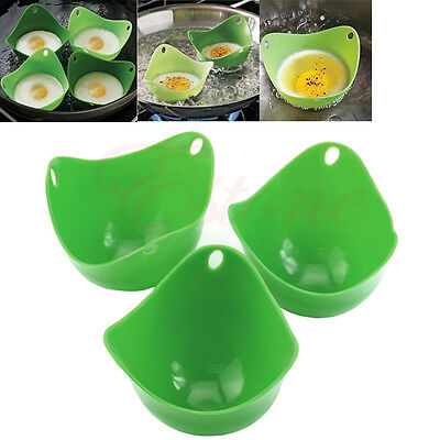 2x Silicone Egg Baking Cup Poacher Cook Poach Pods Kitchen Tool Cookware Poached