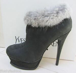 NIB-YSL-Yves-Saint-Laurent-TRIBUTE-105-Ankle-Fur-Suede-Zip-Booties-Shoes-37