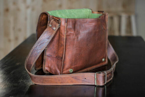 Large Leather Messenger Bag Men Laptop Shoulder Vintage Brown Crossbody Satchel