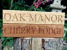 Signo de casa de roble, Personalizado, Tallado, Placa de Nombre de madera Personalizado Grabado Al Aire Libre