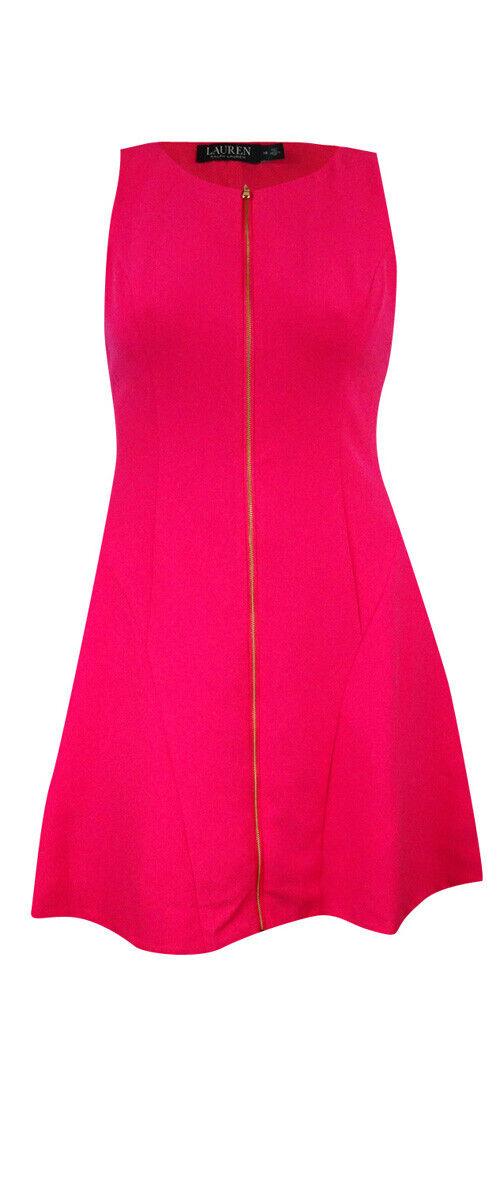 Lauren Ralph Lauren Women's Front Zip Sleeveless Dress (14, Darien Pink)