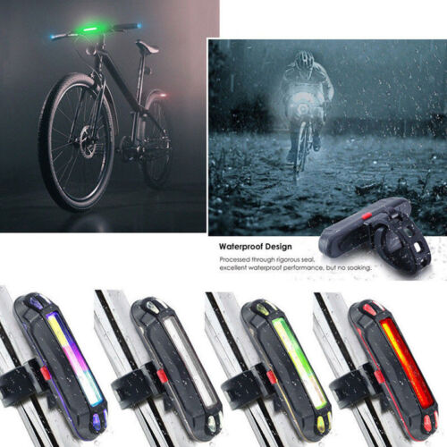 USB Rechargeable Bike Bicycle Cycling Warning Light Front Rear LED Tail Lamp