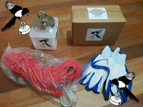 Magpie Magnets 422kg Pull Force Neodymium Fishing Magnet 15m rope and gloves