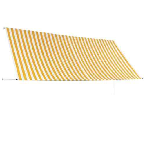 vidaXL Toldo Retráctil 350x150cm Amarillo//Blanco Parasol Ventana Terraza Hogar