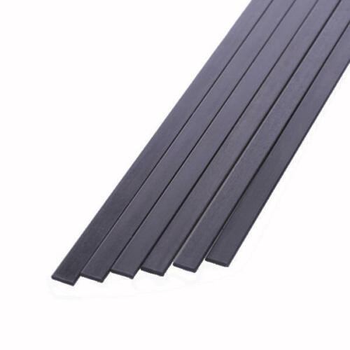 S102-200 5x Short Lengths 10mm x 2mm x 200mm Pultruded Carbon Fibre Strips