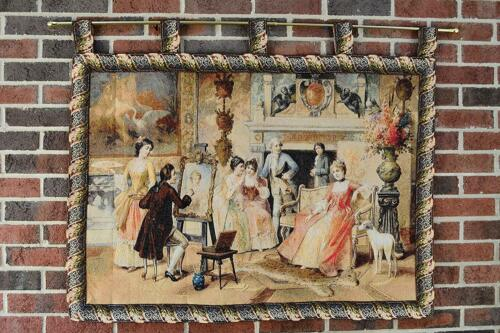 Tache Floral Tapestry Wall Hanging Scenic View Woven Bordered Rustic Art Decor