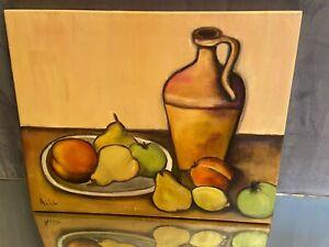 Tableau huile sur toile Nature Morte aux fruits et au grès signée A. de Villiers