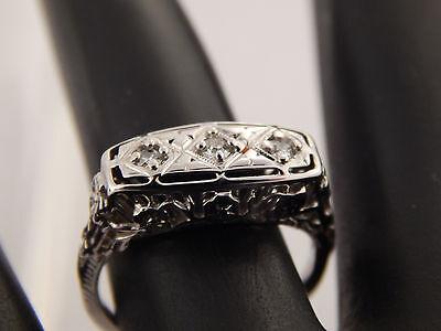 .15 tcw Diamond Antique Three Stone Ring 18k G/SI Old Mine Cut ART DECO Filigree